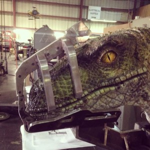 A bit more green than the original brown and tiger-striped raptors of the first two films...we like it!